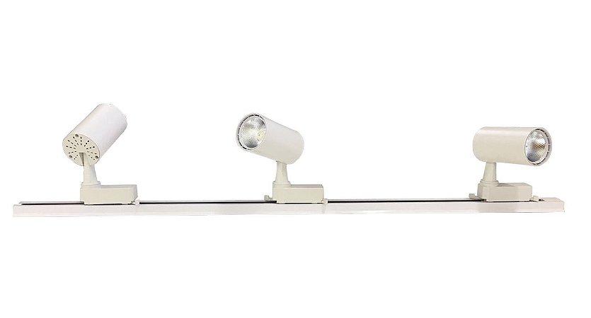 Trilho Eletrificado 1m + 3 Spot Led 7w Branco Quente e Branco Frio 220v