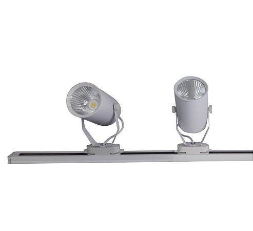 Trilho Eletrificado 1m + 2 Spot Led 12w Branco Frio e Branco Quente 220v