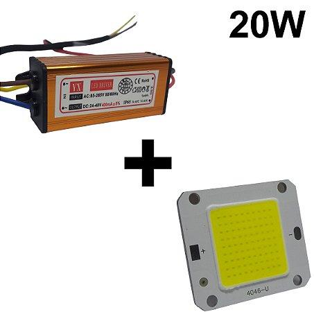 Chip + reator driver 20w reposição refletor led Branco frio e quente
