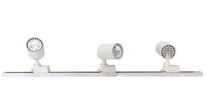 Trilho Eletrificado 1m + 3 Spot Led 10w Branco Quente, Frio e Neutro Bivolt