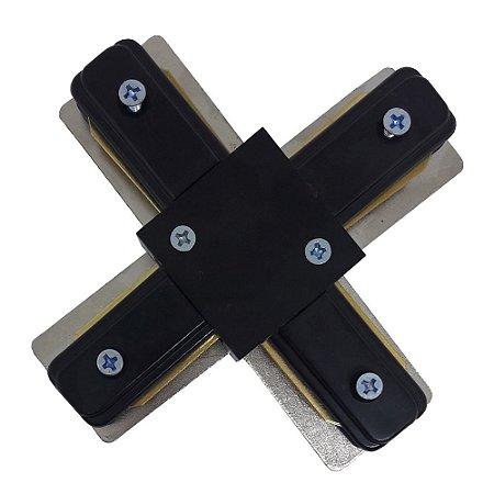 Emenda conector para trilho eletrificado em X Preto e Branco