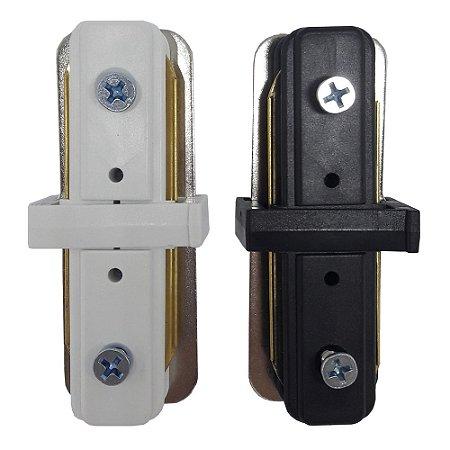 Emenda conector para trilho eletrificado em I Preto e Branco