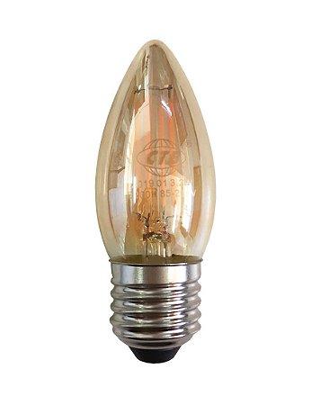 Lâmpada Led Vela E27 4w Branco Quente Filamento Âmbar 110-220v