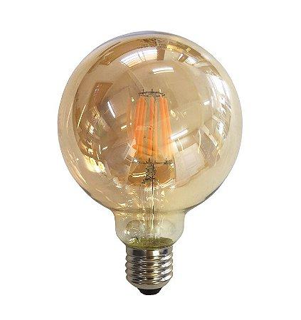 Lâmpada Filamento em LED 8w G95 Vidro Âmbar E27 Retrô - Bivolt