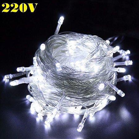 Pisca Led de Natal Branco Frio Luz Fixa 10m 220v 100leds