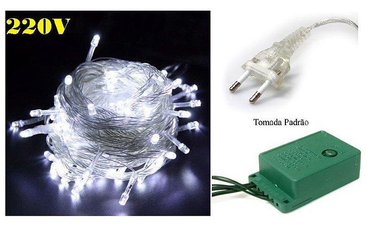 Pisca Led de natal Branco Frio 8 efeitos 10m 220v 100leds