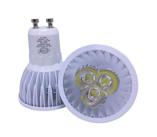Lâmpada Led Dicroica Spot Gu10 Branco Quente e Frio 3w Real Bivolt