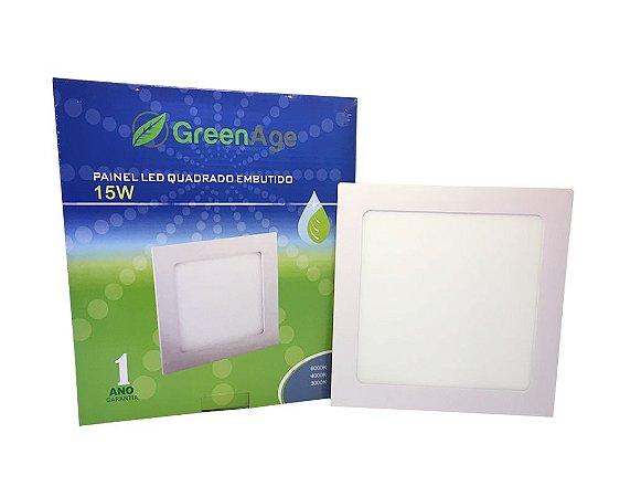 Plafon Led Embutir Quadrado 15W Branco Quente,  Frio e Neutro 110-220v