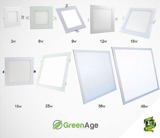 Plafon Led Embutir Quadrado 3 à 48w Branco Quente, Frio e Neutro 110-220v