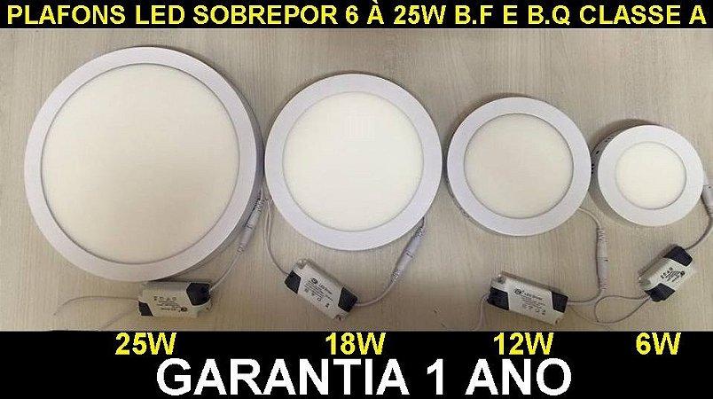 Plafon Led Sobrepor Redondo 6 à 25W Branco Quente e Frio 110-220v