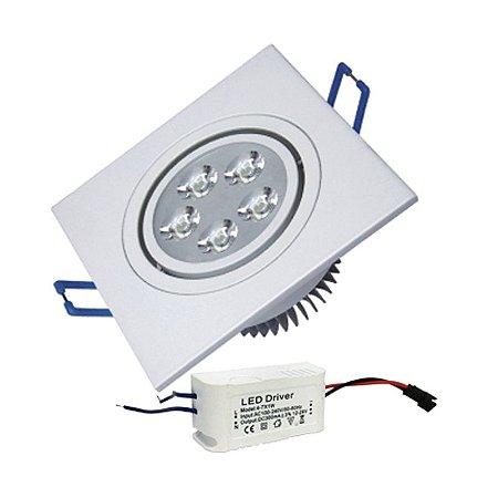 Lâmpada Spot Led Quadrado 5w Direcionavel Branco Quente e Frio 110-220V