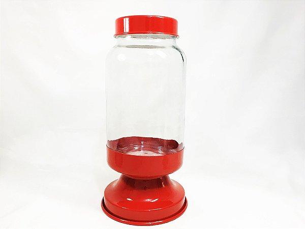 Baleiro de vidro base vermelho - 3,250 ml