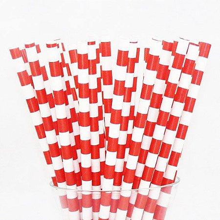 Canudo de papel listra horizontal vermelha - 20 unidades