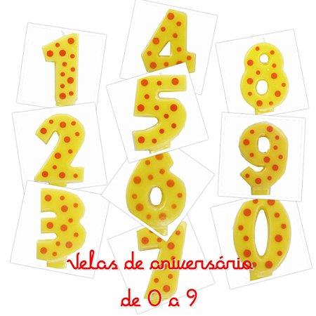 Vela de aniversário infantil amarela - Numeral (poás)