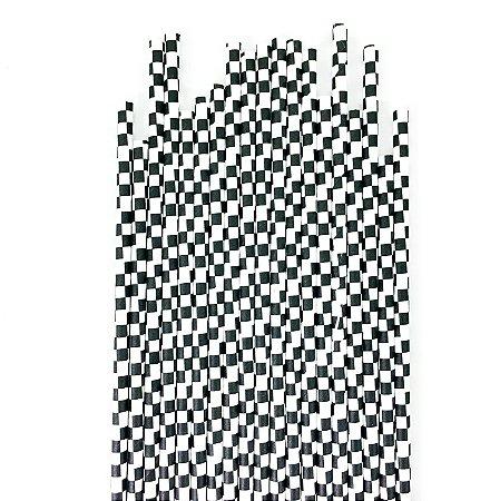 Canudo de papel quadriculado Preto - (20 unidades)