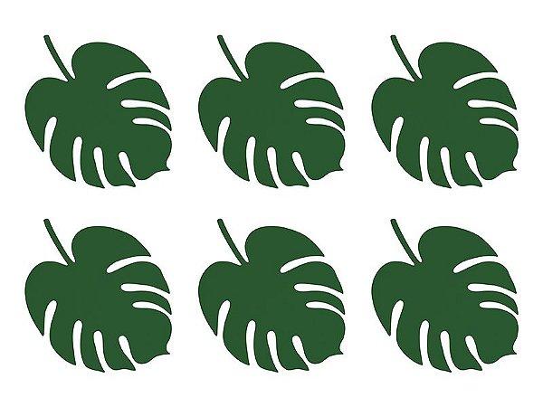 Folha Monstera Verde Musgo - 16 x 12 cm (6 unidades)