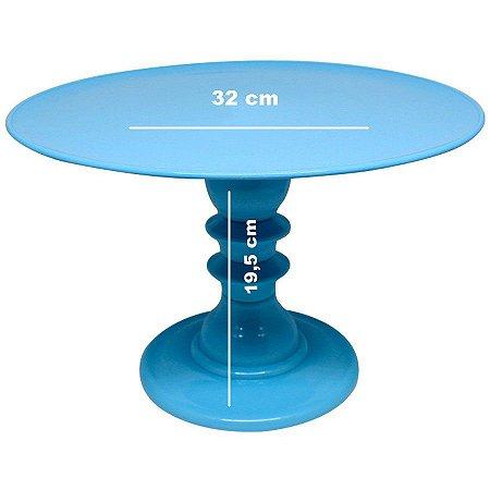Boleira/suporte com pé torneado - Azul Céu (desmontável)