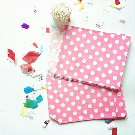 Saquinho de papel Pink - Poás branco 13x18 cm (10 unidades)
