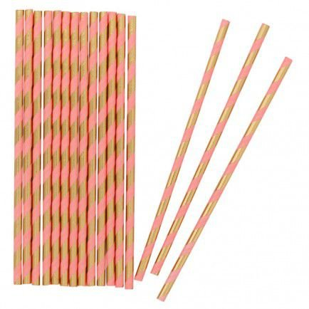 Canudo de papel listrado Dourado com Rosa pêssego - 20 unidades