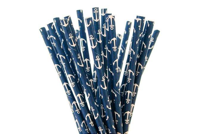 Canudo de papel Azul Navy - 20 unidades
