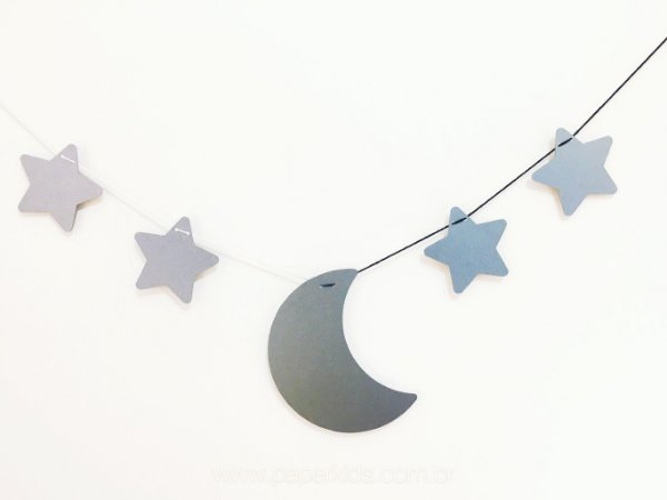 Bandeirola de papel Lua e Estrelas - Prata