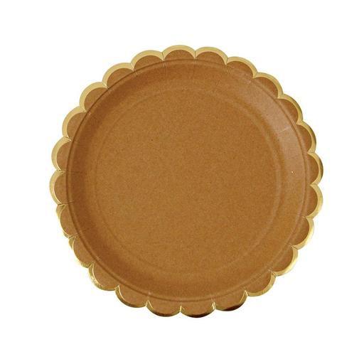 Prato de papel kraft com filete dourado - Meri Meri (8 un)