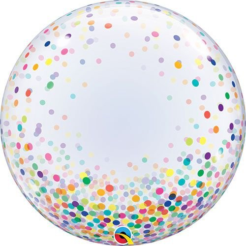 "Balão transparente Bubble - Confetes Coloridos 24""- 61cm (unidade)"