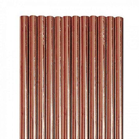 Canudo de papel metalizado Rose Gold - 20 unidades