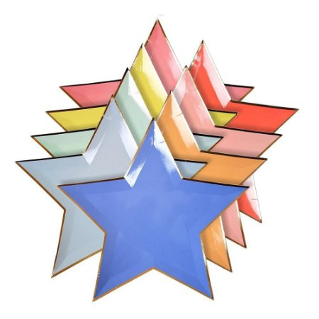 Prato de papel Estrelas - Meri Meri (8 unidades - 27 cm)