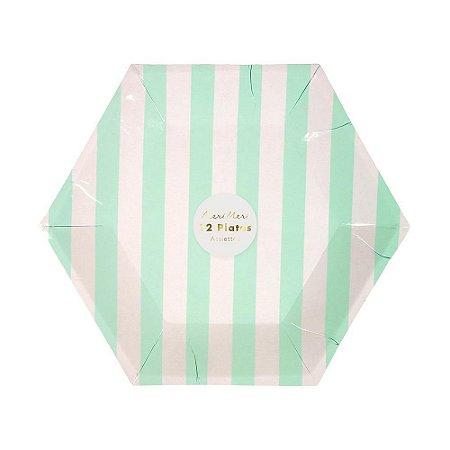 Prato de papel Listras verde menta - Meri Meri (12 un)