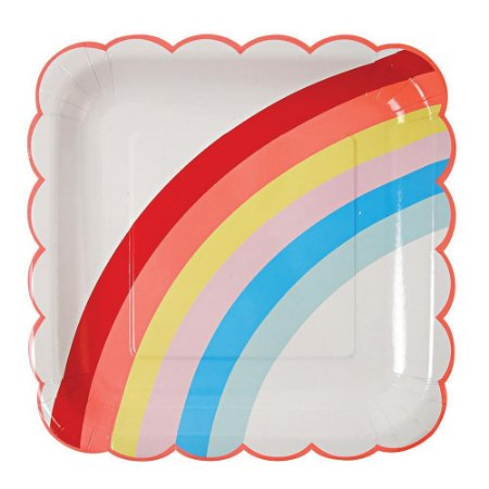 Prato de papel - Arco-Íris (8 unidades - 23 cm)