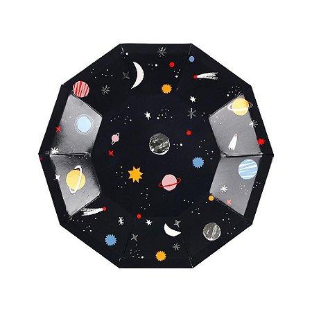 Prato de papel Universo / Planetas - Meri Meri (8 unidades - 18 cm)