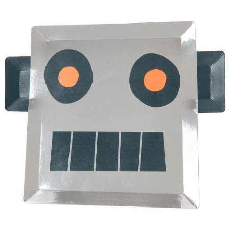 Prato grandel Robô - Meri Meri (8 unidades - 27x22 cm)