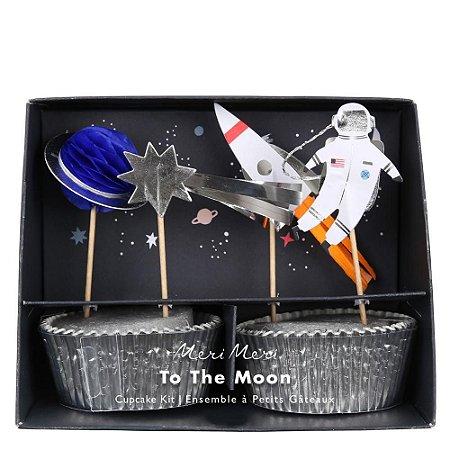 Kit cupcake festa Astronauta - 24 pins + 24 formas
