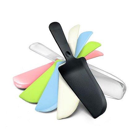 Faca/Espátula de bolo colorida de plástico (Escolha sua cor)