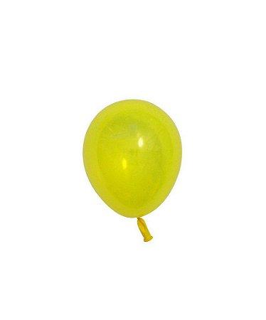 """Mini balão látex 5"""" - Amarelo (unidade)"""