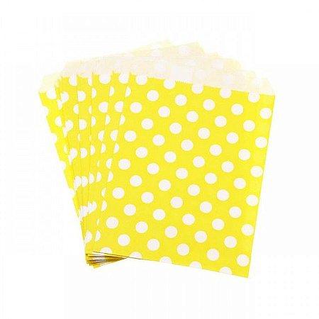Saquinho de papel amarelo - Bolinhas 13x18 cm (10 unidades)
