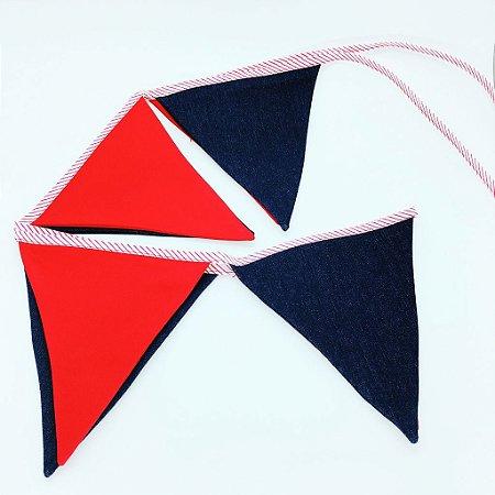 Bandeirola de tecido - JEANS e VERMELHO (8 un)