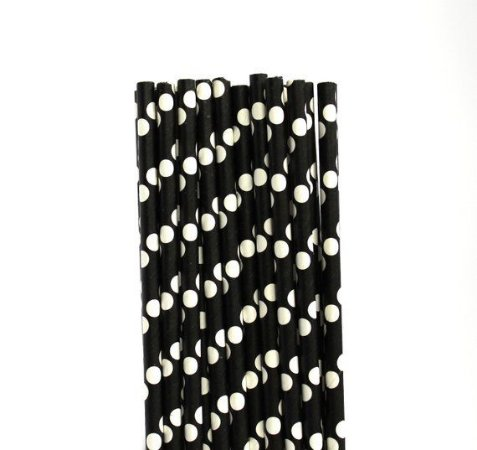 Canudo de papel preto Poá branco - 20 unidades
