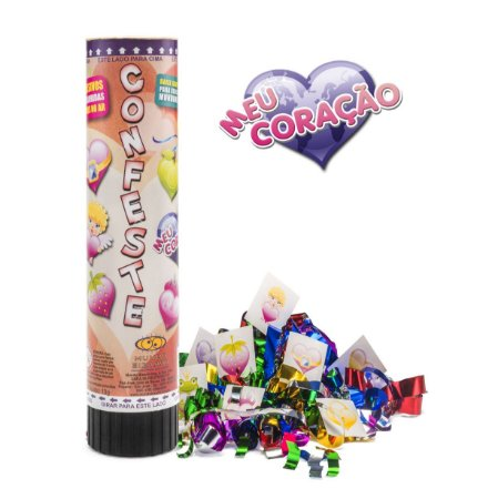Lança confetes mola com adesivos - CORAÇÕES