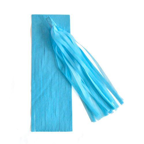 Guirlanda / Cauda Balão Franjas - Pompom Azul Céu (5un)