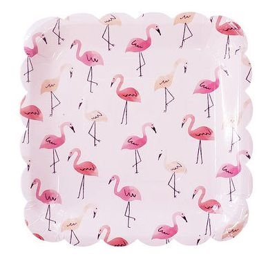 Prato de papel - Flamingos 8 un (23 cm)
