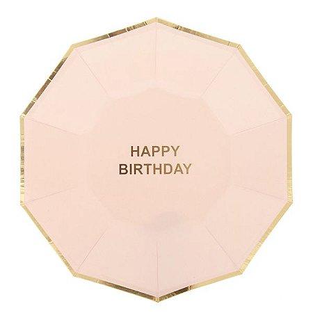 Prato de papel Nude/Dourado - Happy Birthday (10 un)