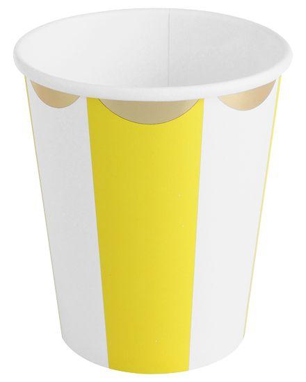 Copo de papel - Amarelo/Branco/Dourado (10 unidades)