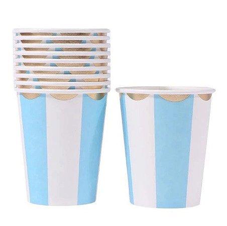 Copo de papel - Azul/Branco/Dourado (10 unidades)