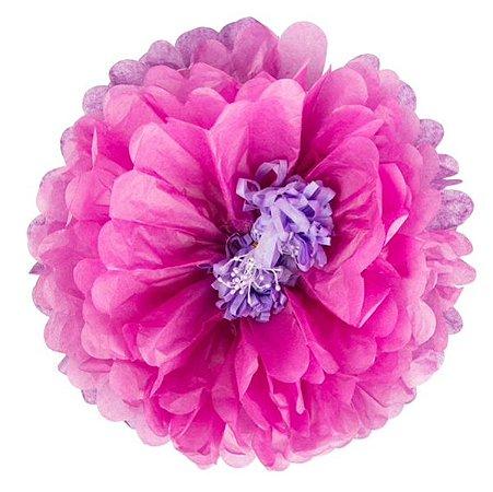 Flores de Papel 30 cm - Roxo e Pink (3 unidades - Desmontadas)