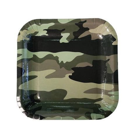Prato de papel - Militar / Camuflado (8 unidades - 18 cm)