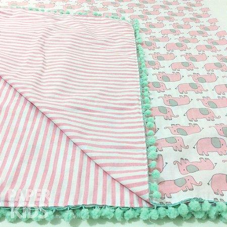 Toalha dupla face para mesa Parabéns - Elefantinho rosa?