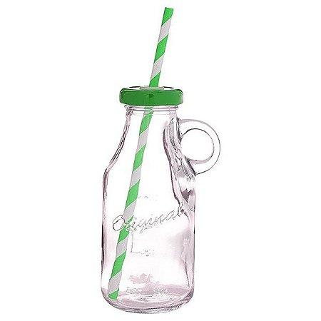 Garrafinha de vidro com alça e canudo - tampa verde (250ml)