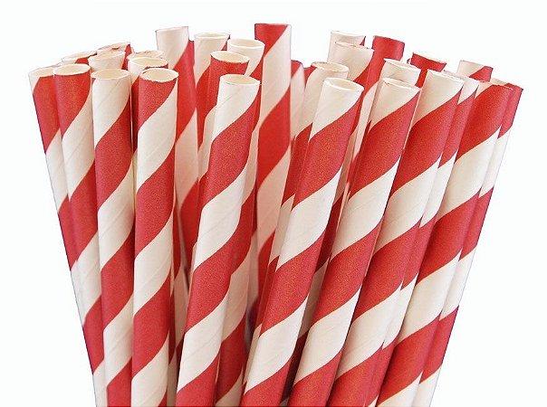 Canudo de papel listra vermelha - 20 unidades